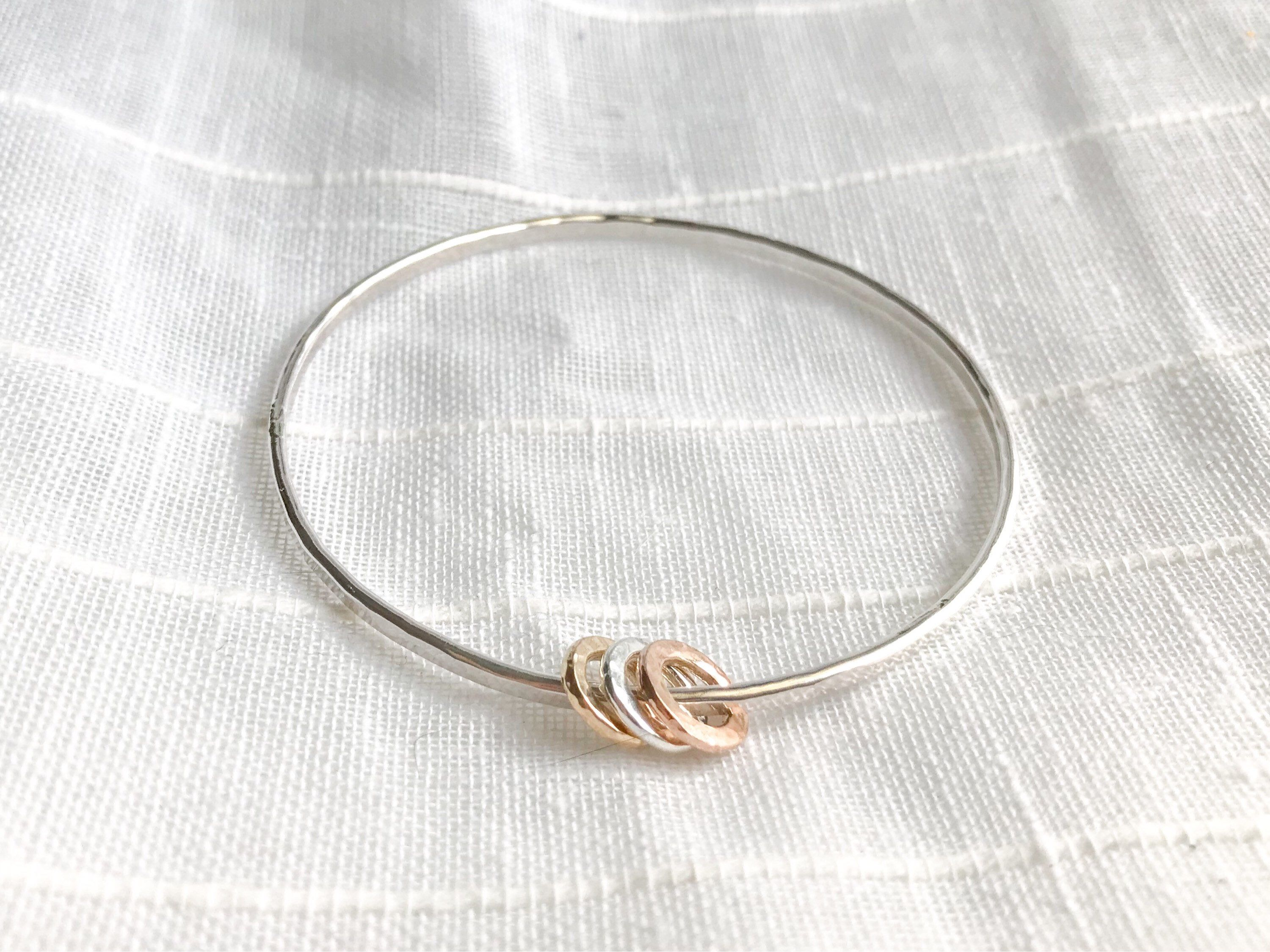 solid hammered handmade small silver bangles bracelets large bracelet understated bangle simple clasp pin sterling