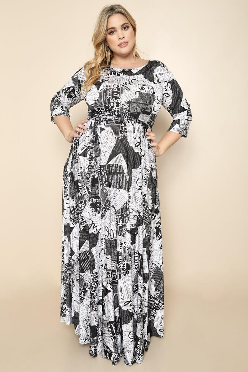 Read All About It Newspaper Print Plus Size Maxi Dress in ...