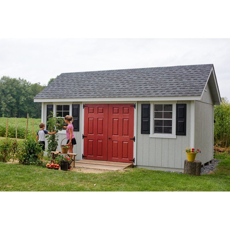10x14 Cape Cod Shed With Vinyl Siding Includes Extra Wide Eves And Gables Two 24x36 Single Hung Windows And Shutters Doubl Backyard Sheds Shed Shed Storage