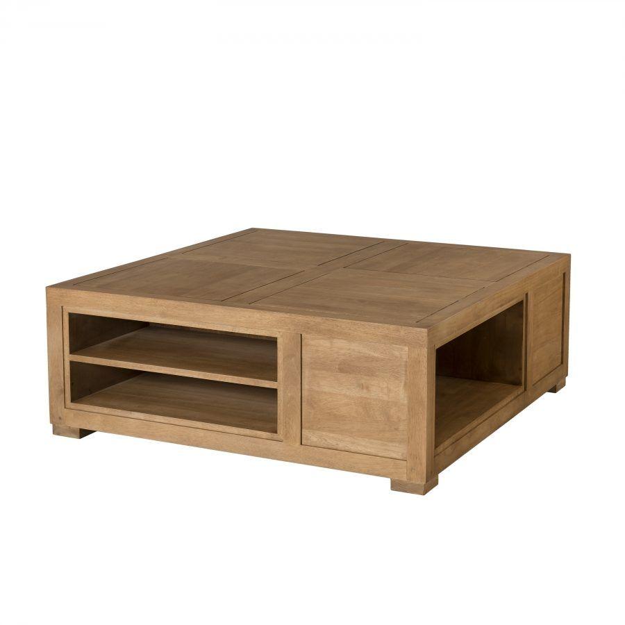 Table basse carr e avec niches de rangement cesar la Table basse avec tiroir de rangement