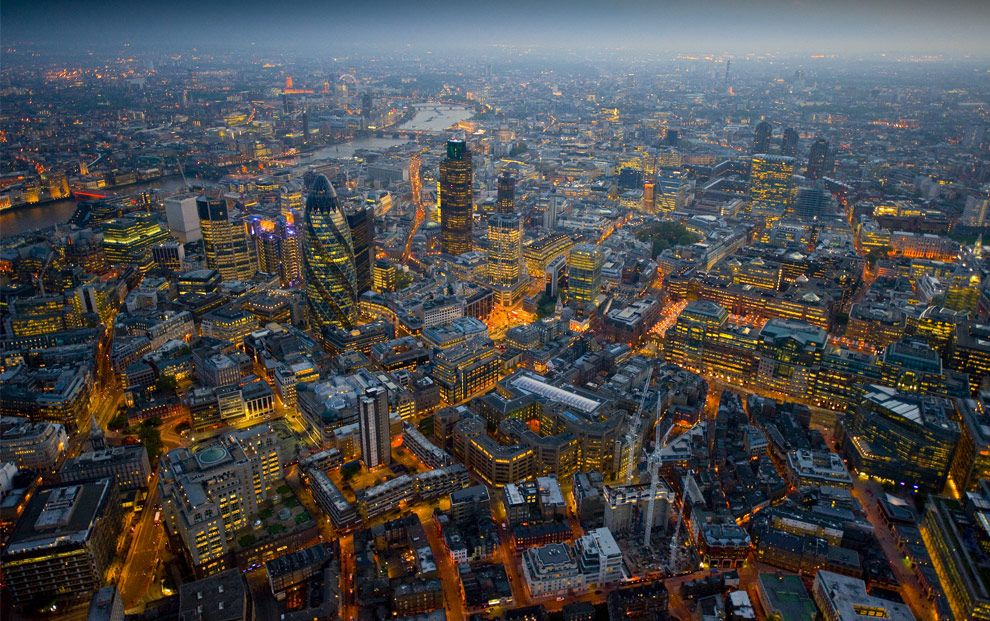 More Of London From Above At Night London Night London Pictures Aerial