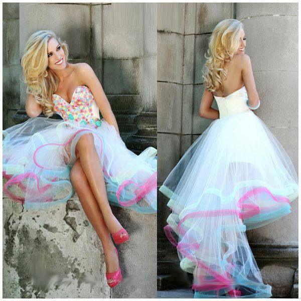 Suosikki 2017 High Low Short Front Long Back Beach Wedding: Prom Dresses, Dresses, Rainbow Prom Dress