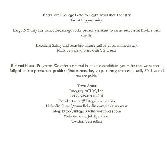 Career Opportunity Career Information Career Opportunities Insurance Industry