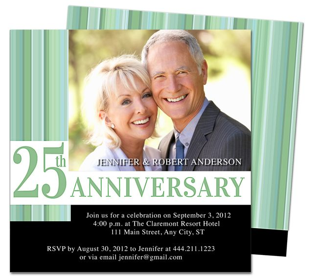 Wedding Anniverary Invitations Templates Happiness 25th Anniversary Party Invitation Printable Template