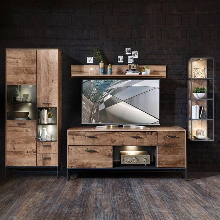 Industrial TV Wohnwand in Haveleiche Cognac Dekor mit graphit MINNEAPO in 2020   Wohnwand, Tv ...