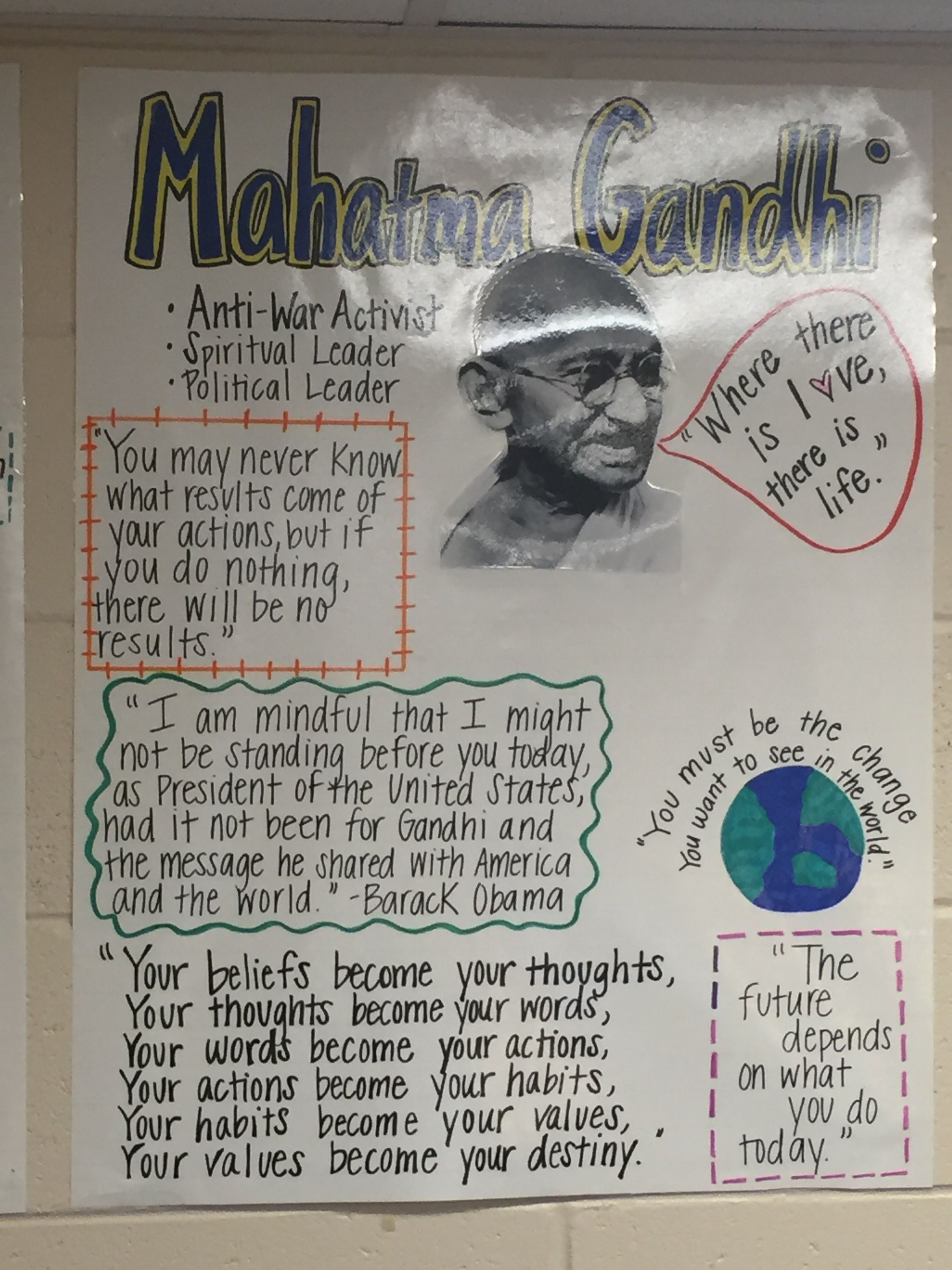 Gandhi Inspirational Poster With Quotes Classroom