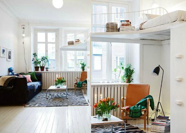 Trendy hoogslaper zitje rechte ladder whitewashdoorbouwbedden
