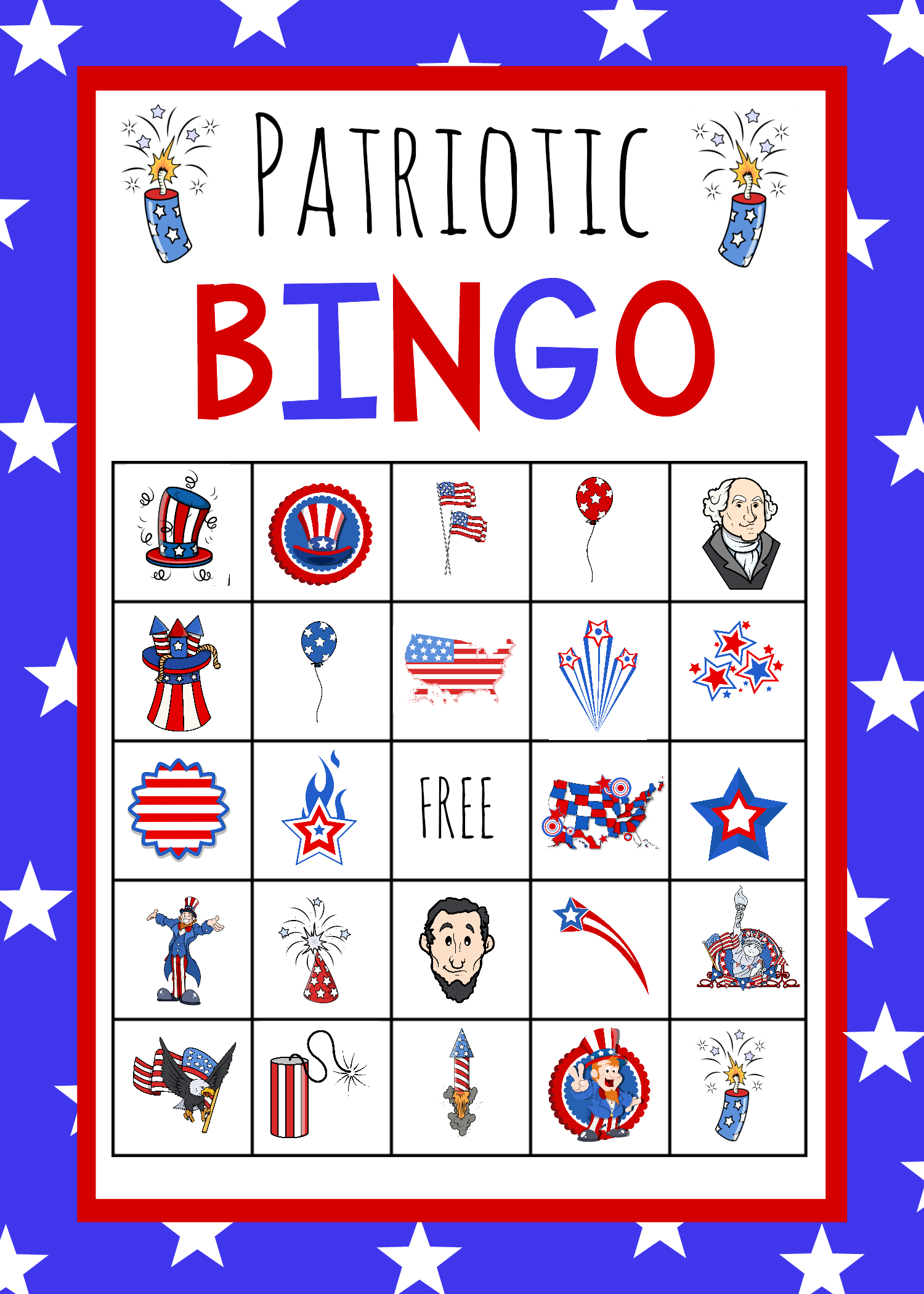 Patriotic 4th Of July Bingo Game To Print 4th Of July Games Patriotic Activities Fourth Of July Crafts For Kids
