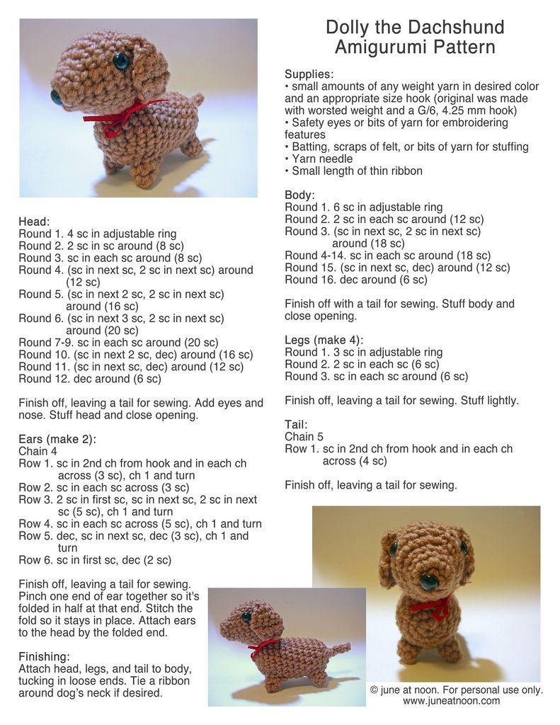 Dolly the Dachshund pattern   niñ   Pinterest   Croché, Tejidos y ...