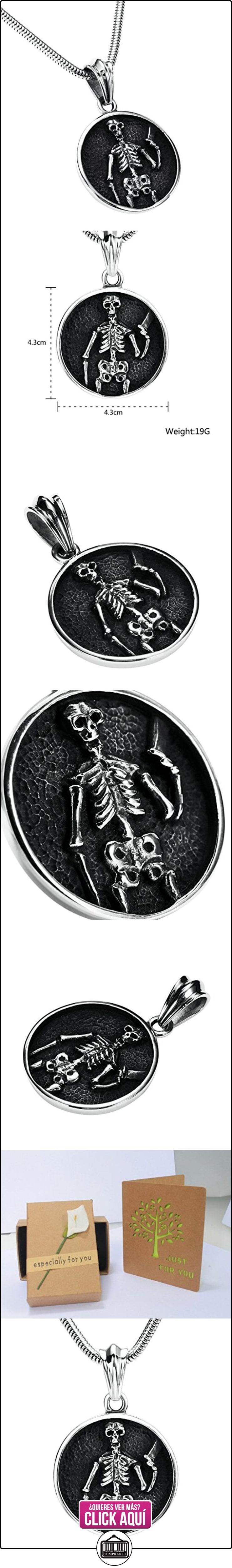 Daesar Joyería Collares de Hombre Acero Inoxidable Plata Redondo Escudo Calavera Colgante Esqueleto 4.3cm  ✿ Joyas para niños - Regalos ✿ ▬► Ver oferta: https://comprar.io/goto/B01MQKC2UL