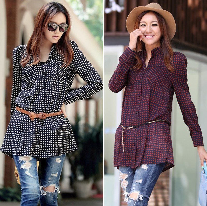 2012 New Autumn Women Fashion Plaid Long Shirt With Long Sleeve ...
