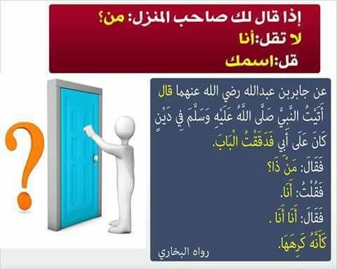 سنن منسية اذا قيل من بالباب فقل اسمك انا محمد انا احمد ولا تقل انا فقط Google