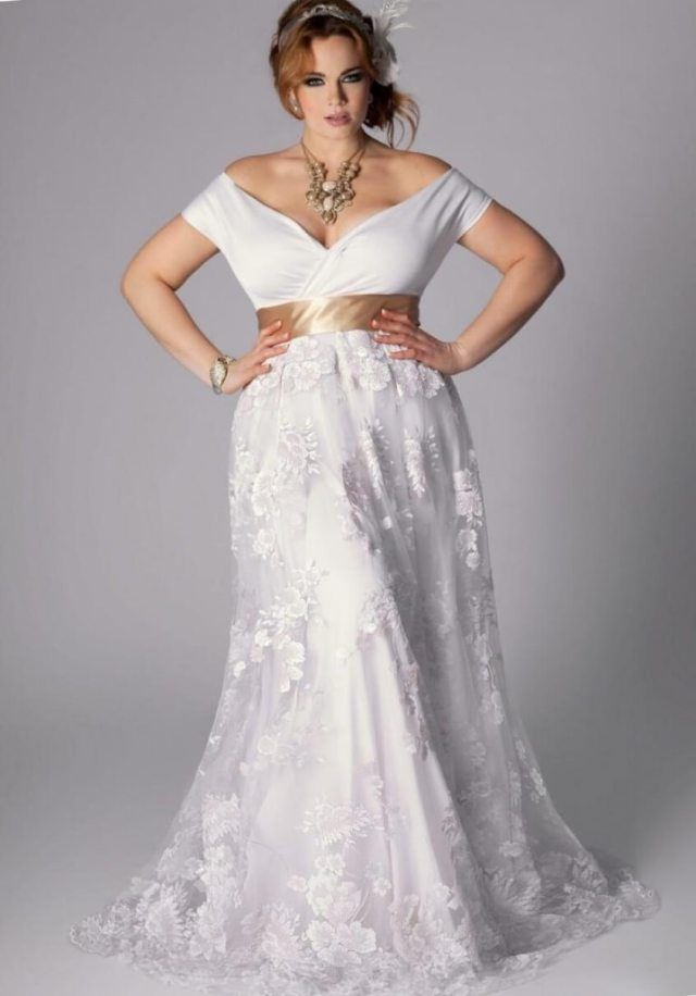 Plus Size Gold Wedding Dresses Pluslook Eu Collection Inside White Dress With Beading
