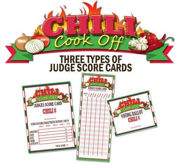 Chili Cook Off Score Cards, Chili Cook Off Judges Score Cards, Chili ...
