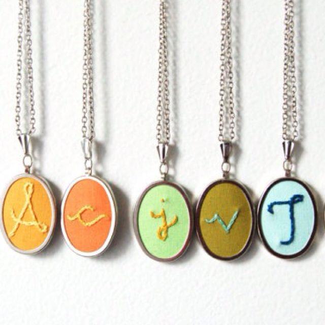 Hand stitched pendants. Merriweather. Love