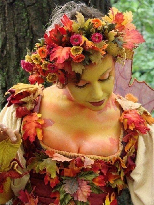 Halloween Kostum Frau Mutter Natur Darstellen Herbst Laub Cosplay