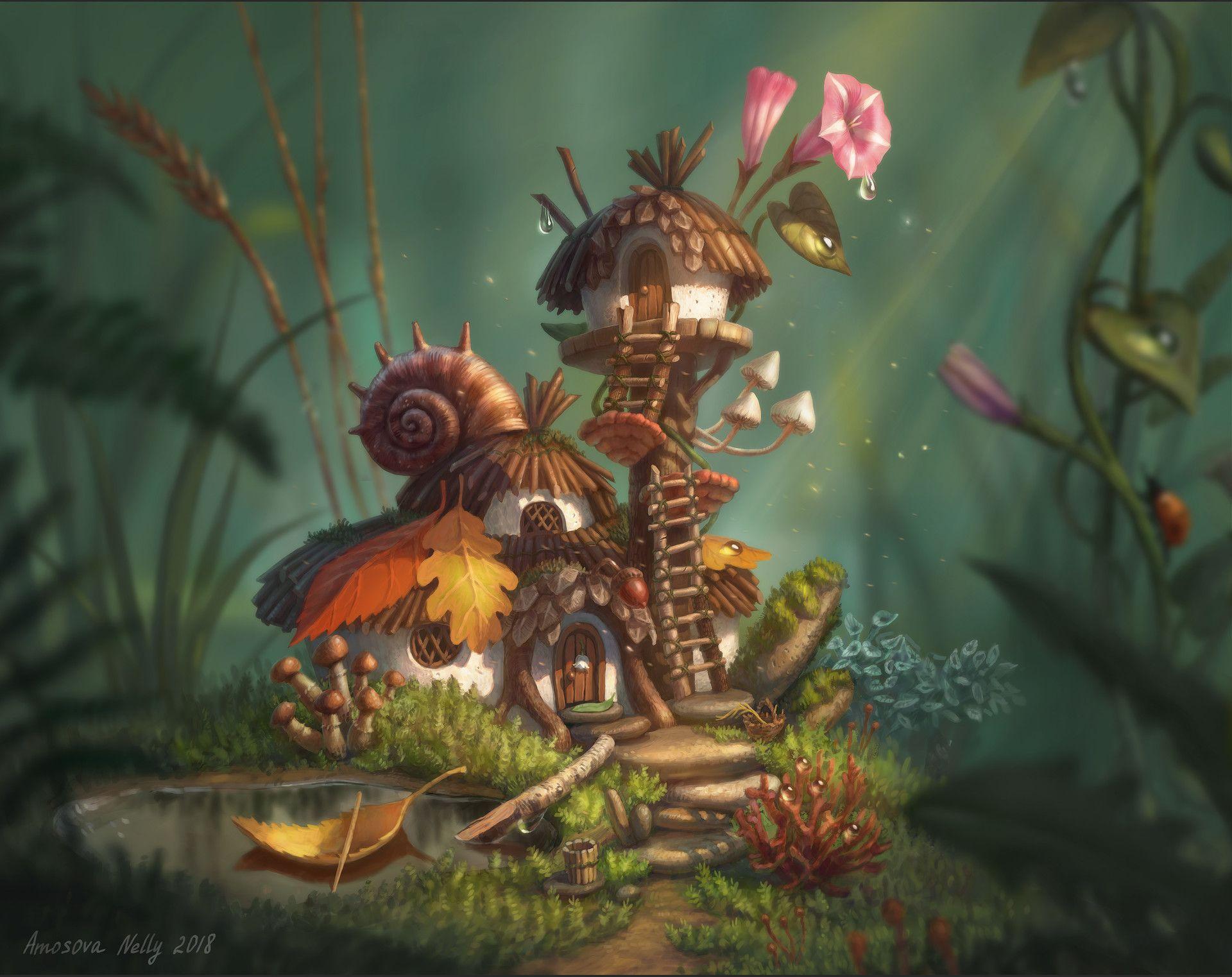 гриб домик картинки фэнтези медынич является