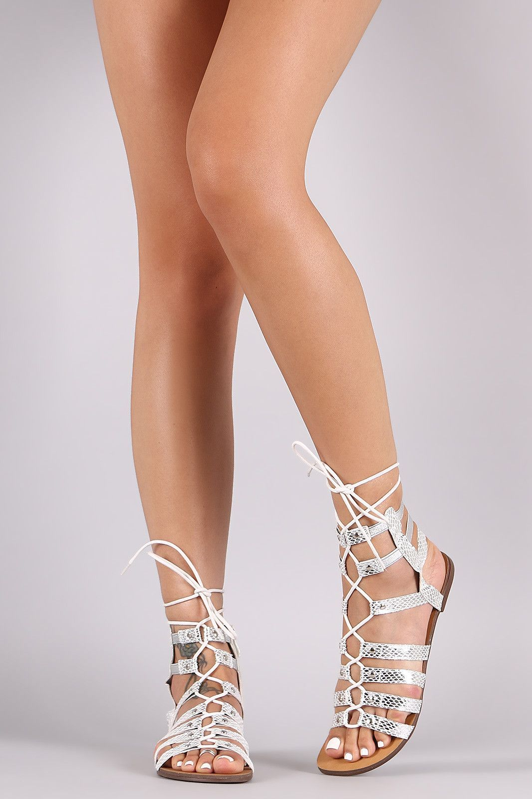 41b420333d71b3 Snake Strappy Lace-Up Gladiator Flat Sandal