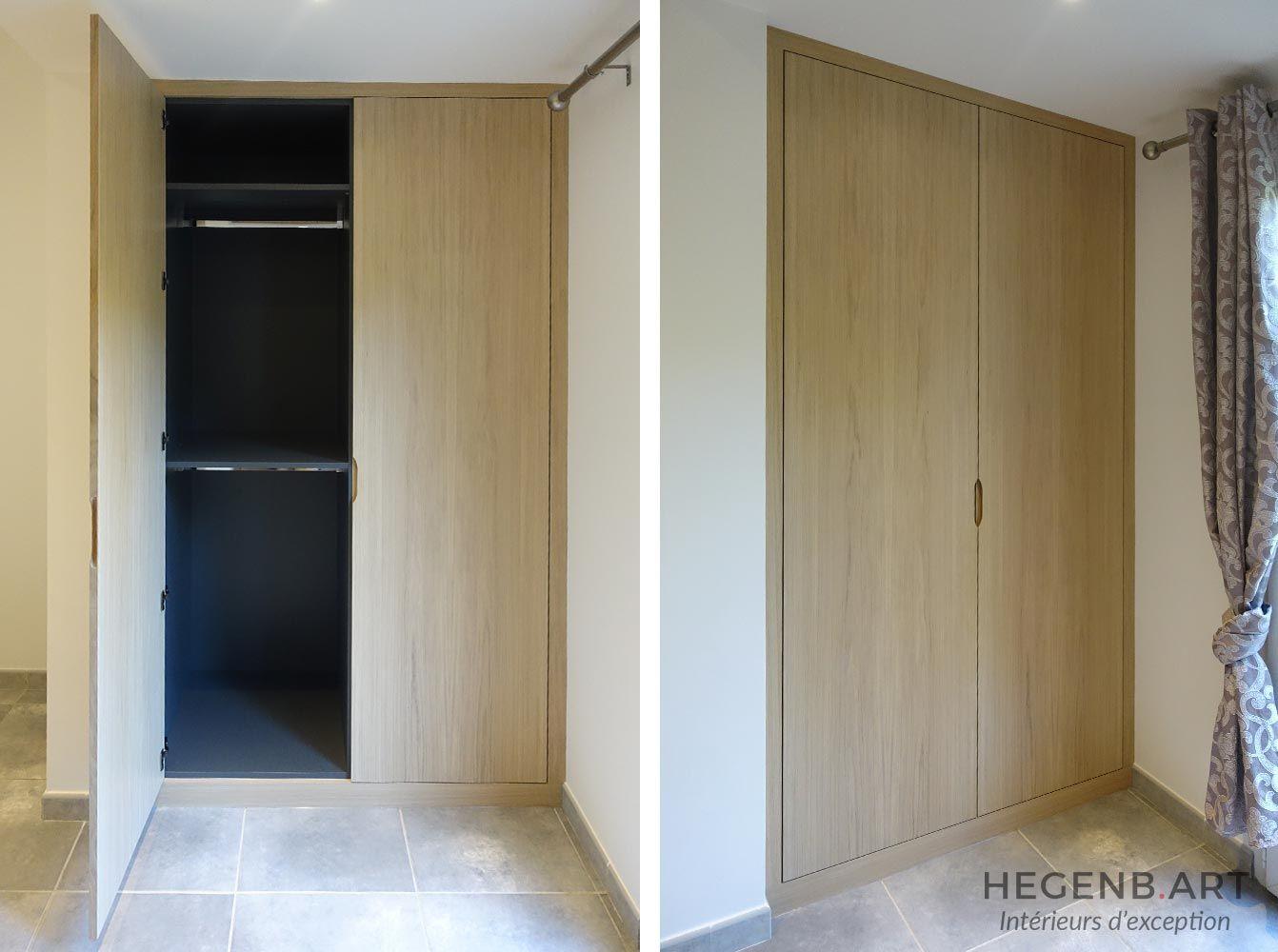 dressing contemporain sur mesure fa ades en ch ne blanchi et caisson int rieur en gris. Black Bedroom Furniture Sets. Home Design Ideas