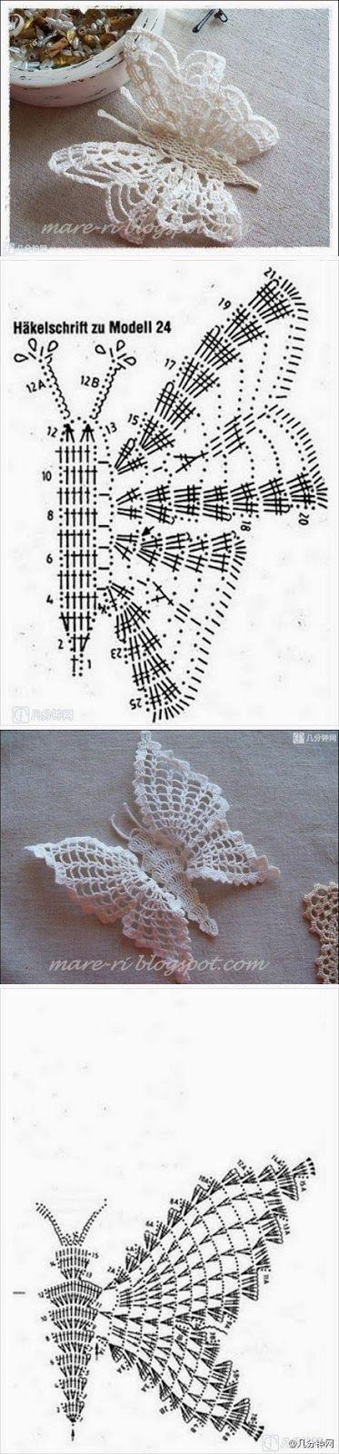 Como hacer una mariposa | animales | Pinterest | Mariposas, Tejido y ...