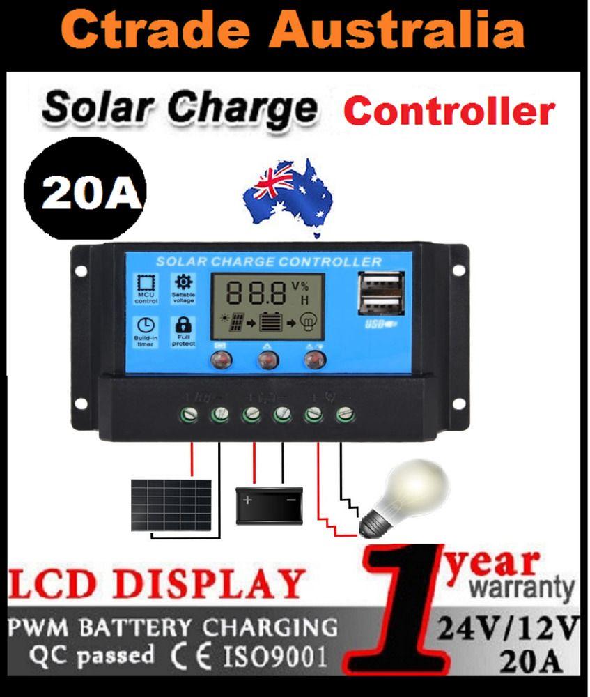 SUNDELY/® Dual Battery 20A PWM 12V//24V Solar Charge Controller with System Protection Regulator Digital Led