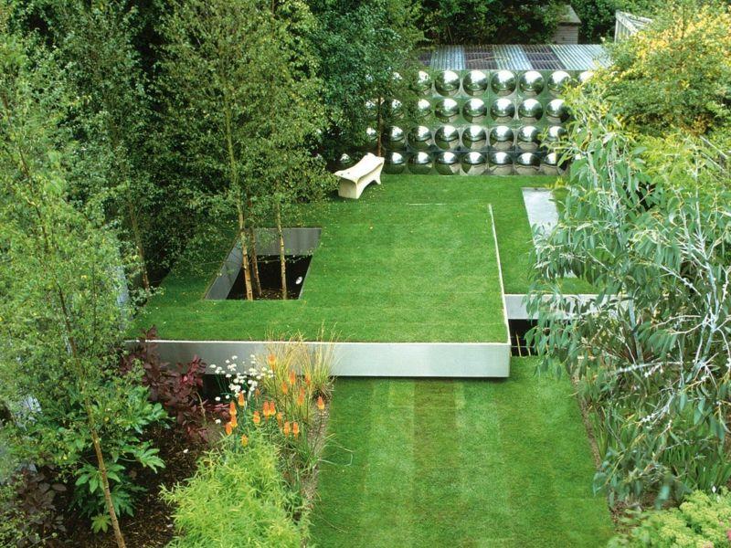 gartengestaltung modern design terrassen beete sichtschutz metall ...