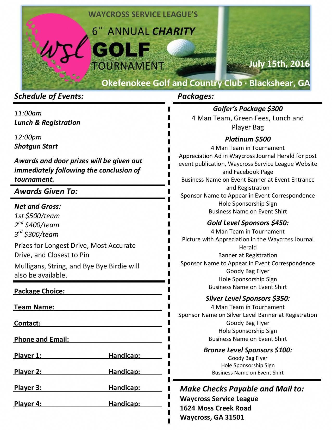 We Will Be Having Our 6th Annual Charity Golf Tournament