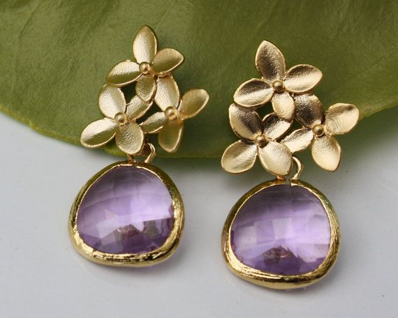 Cherry blossom flower  stud post earrings in gold with framed lavender purple crystal drop weddings bridal prom graduation  MOTHERSDAY. $18.00, via Etsy.