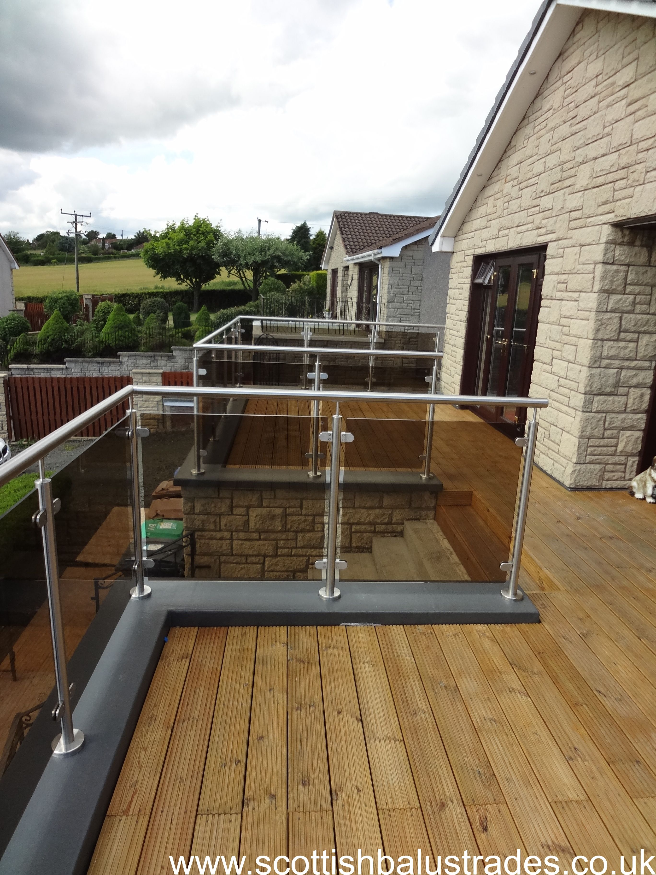 Glass Railing System Glass Balcony Glass Railing: Stainless Steel And Bronze Tinted Glass Balustrade