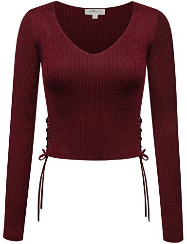 1f5813ae60413 FPT Womens Ribbed Long Sleeve Crop Top With Lace Up Sides... https