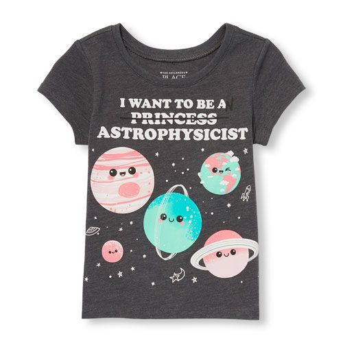 1b7fa1e24ba9 Toddler Girls Short Sleeve  I Want To Be An Princess (crossed out)  Astrophysicist  Graphic Tee