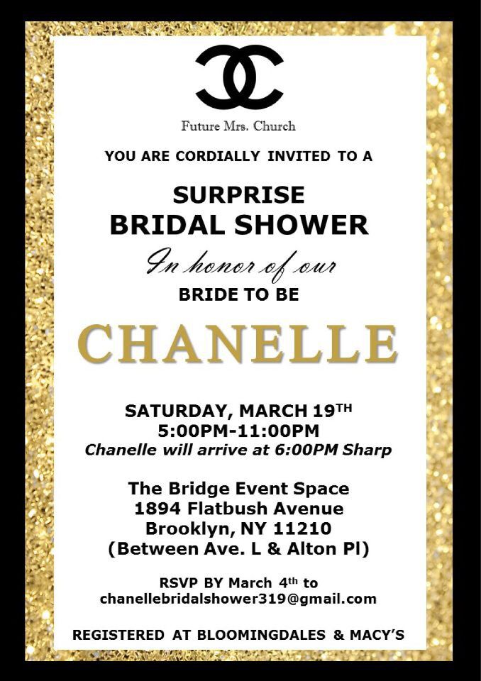 Chanel themed bridal shower invitation inspiration pinterest chanel themed bridal shower invitation filmwisefo