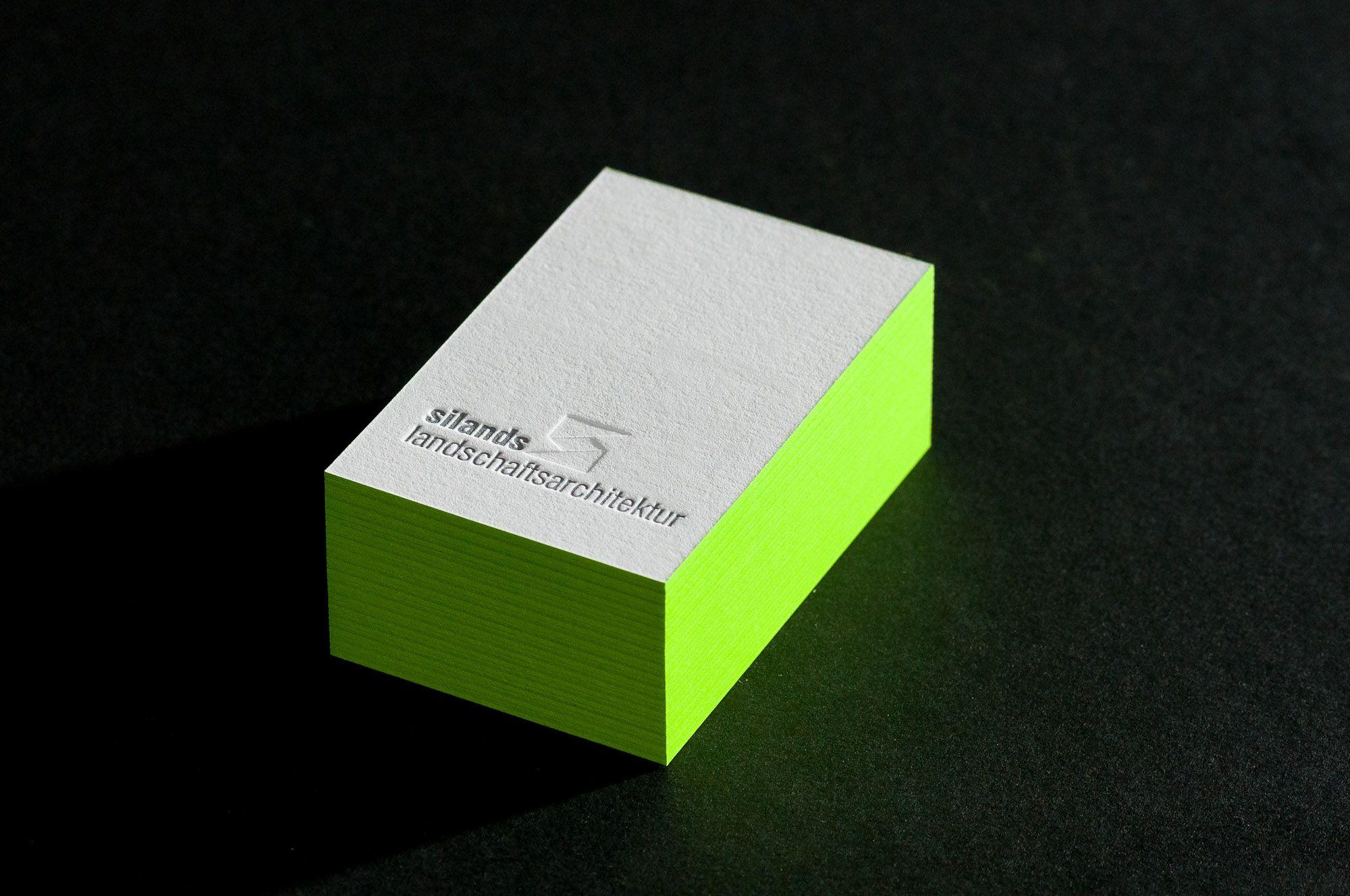 Letterpress Farbschnitt Visitenkarten
