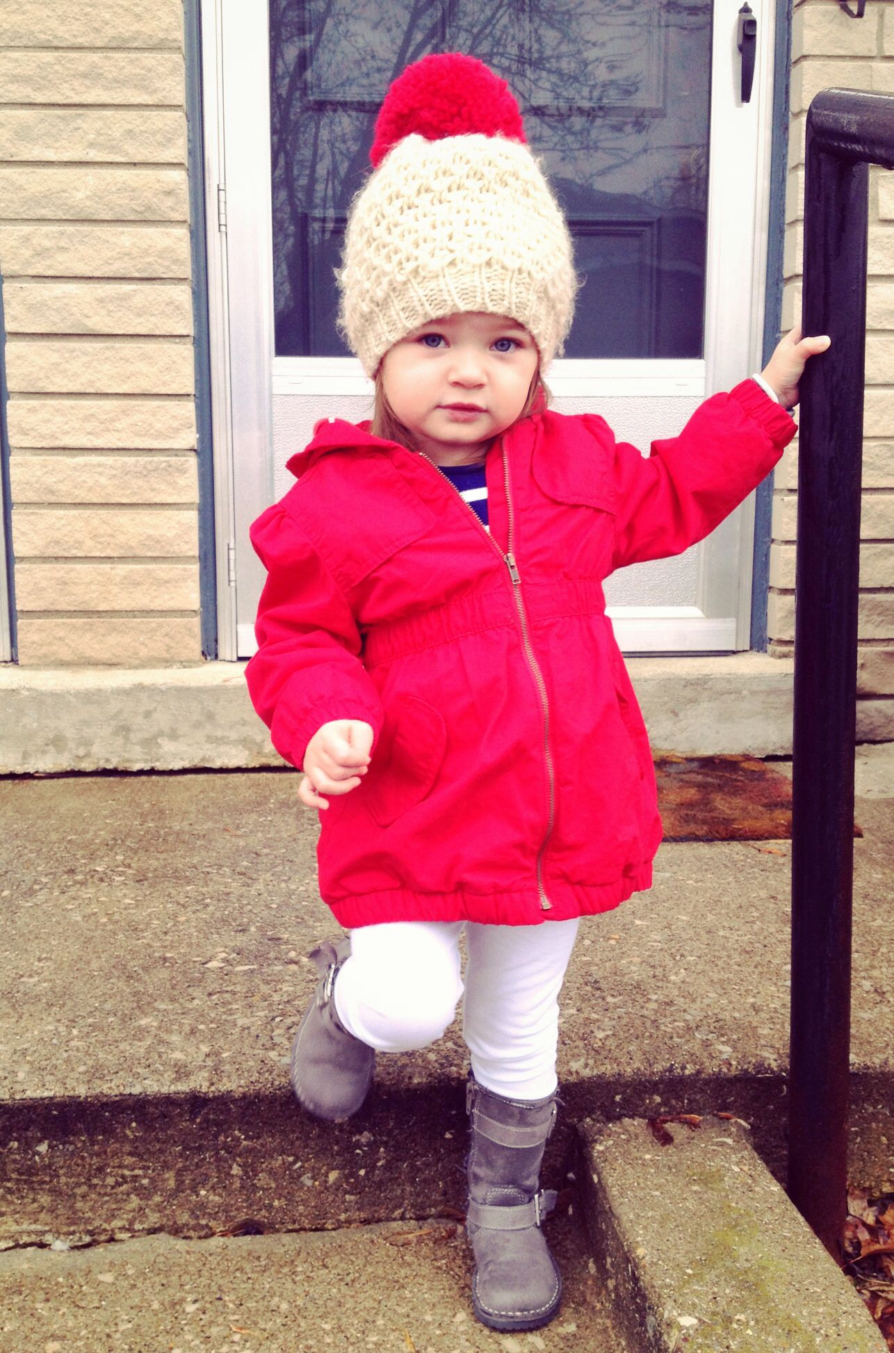 Kids fashion Little girls red coat and hat from old navy Such a