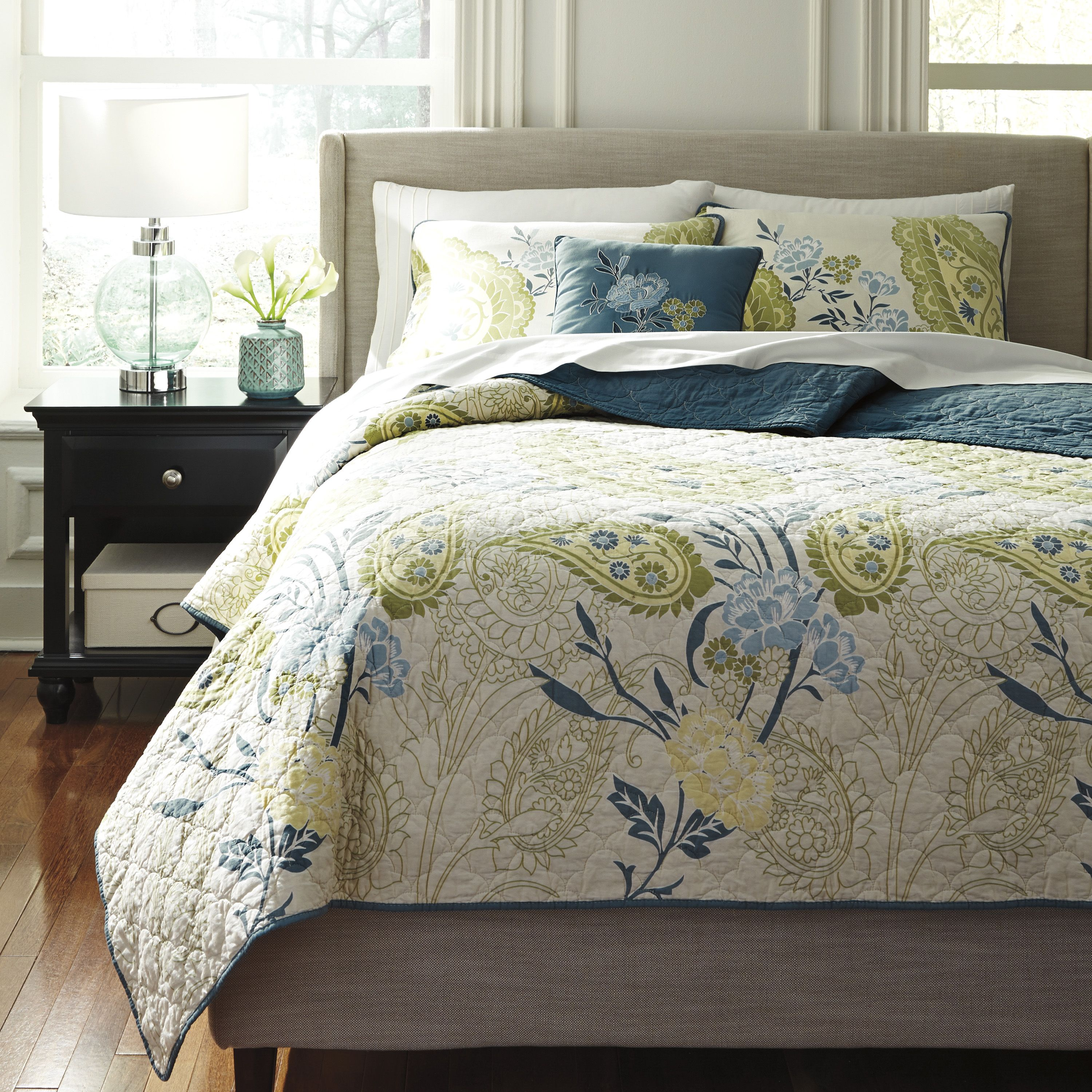 I Love This Blue And Green Quilt! Very Neutral And Great