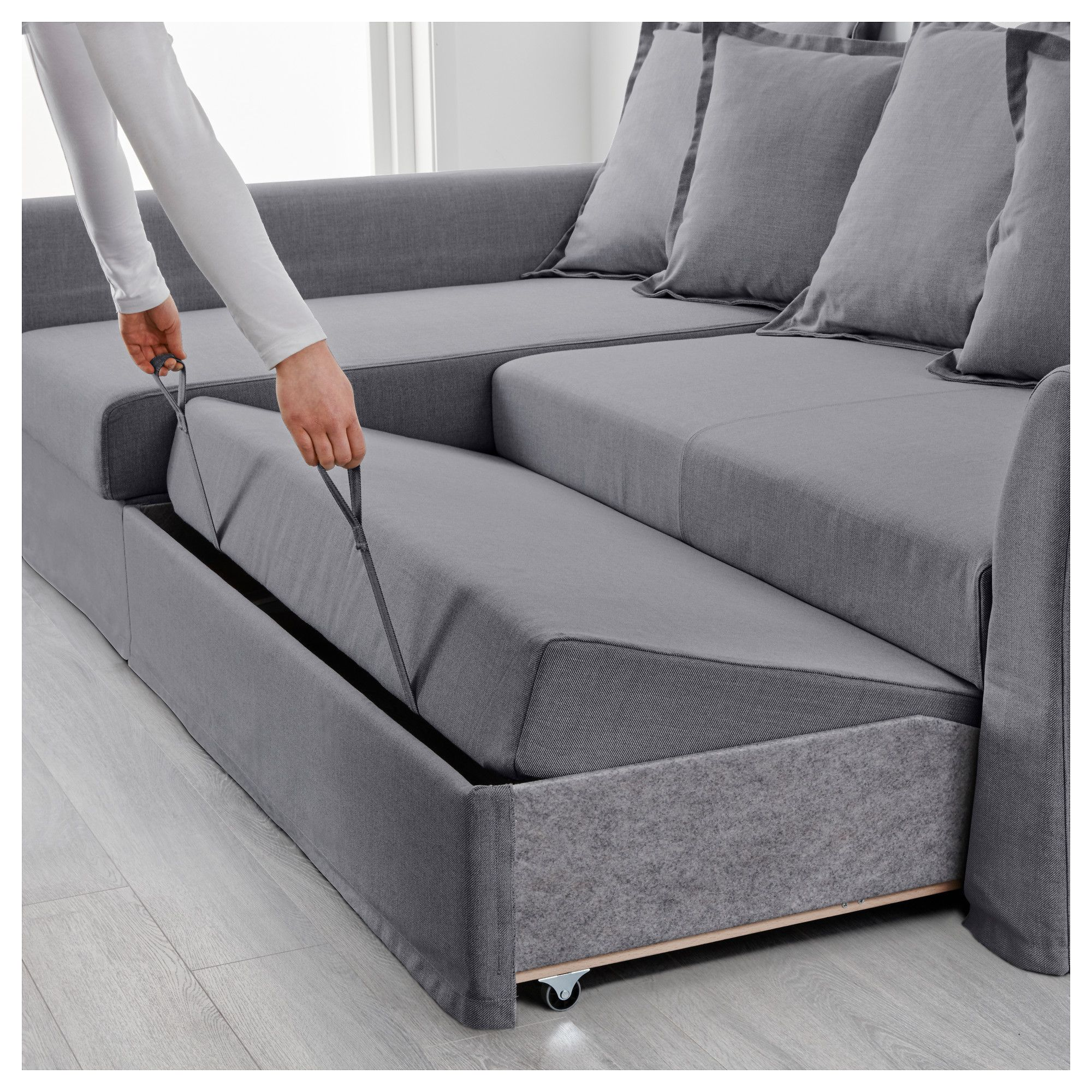 Ikea Holmsund Corner Sofa Bed Nordvalla Medium Gray In
