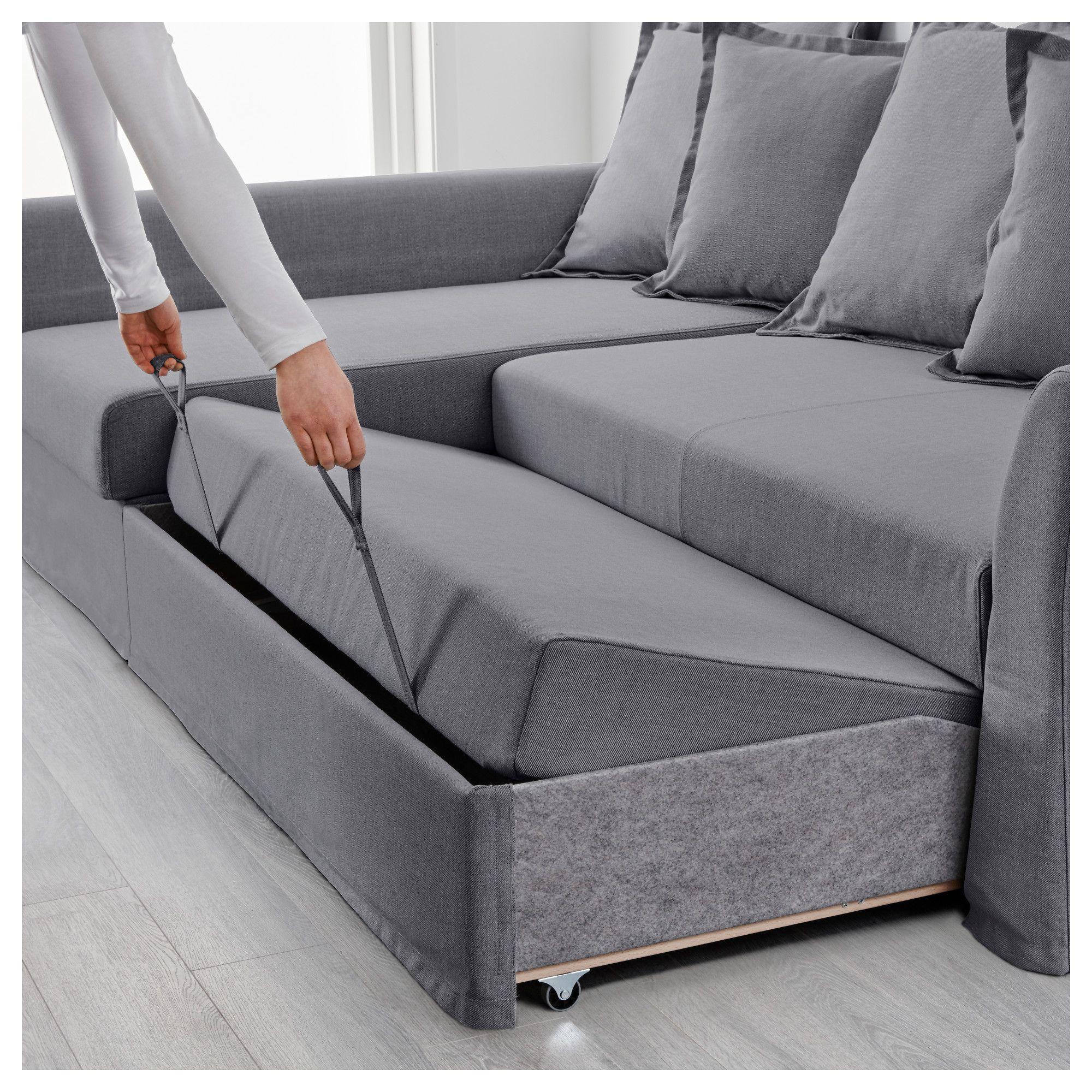 IKEA HOLMSUND Corner sofabed Nordvalla medium gray