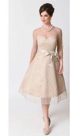 Lindy bop 1950s dark vanilla dot sleeved abigail bridal for Lindy bop wedding dress