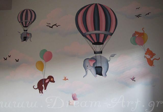 Dream-Art.gr: Αερόστατα με ζωάκια στον τοίχο του παιδικού δωματί...