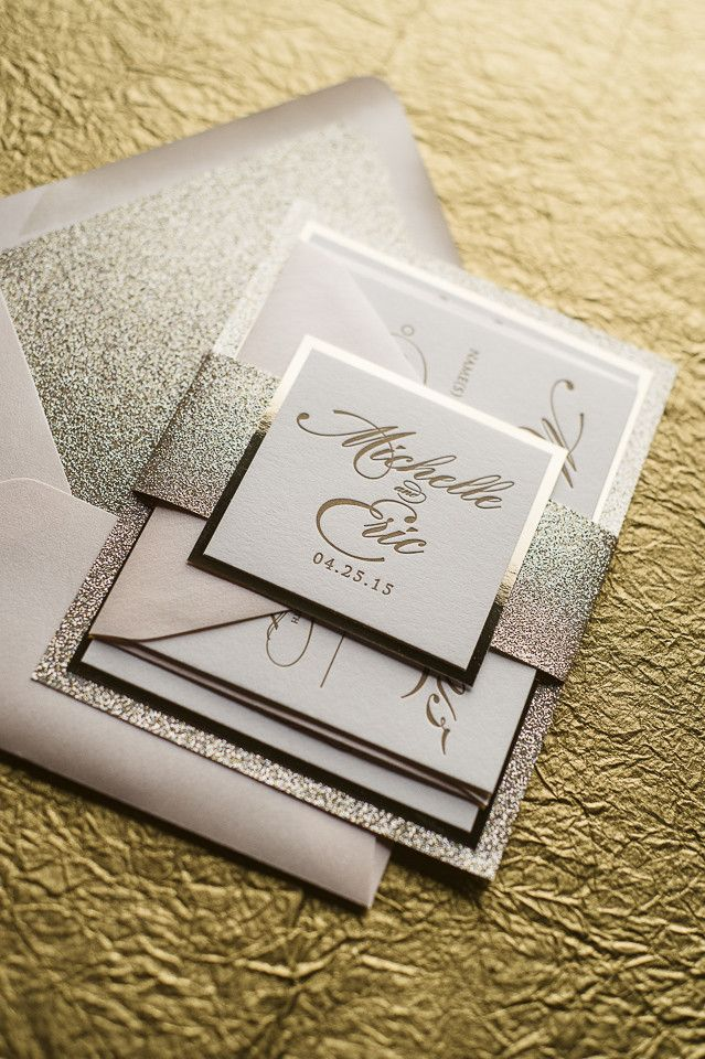 Abigail suite styled fancy glitter package glitter for Inexpensive glitter wedding invitations