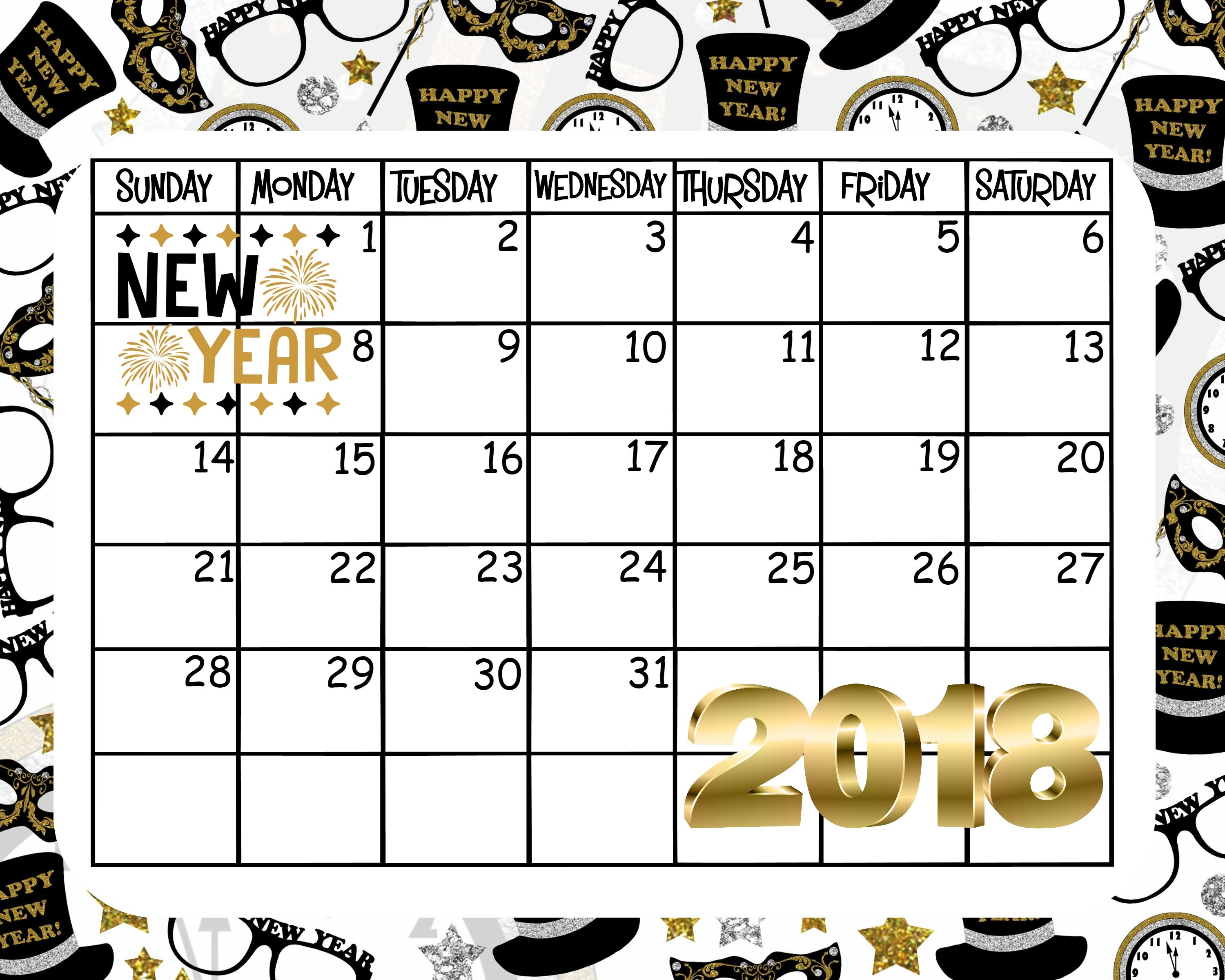 Free Printable January Calendar Happy New Year