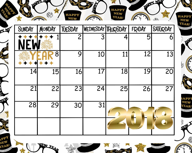 Free Printable January Calendar Happy New Year