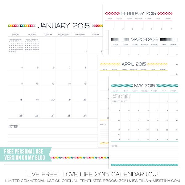 Printable Monthly Planner 2015: Live Free : Love Life 2015 Calendars