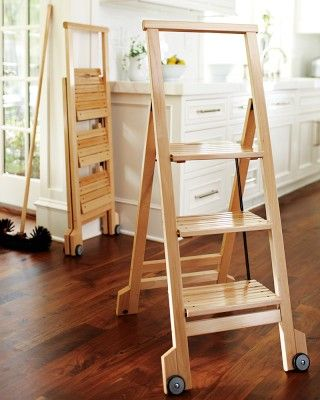 Biblio 3 Step Wooden Ladder Kitchen Stool