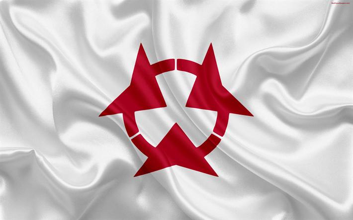Hämta bilder Flagga Oita Länet, Japan, 4k, silk flag, symboler, Oita, emblem, symboler av Japanska prefekturer