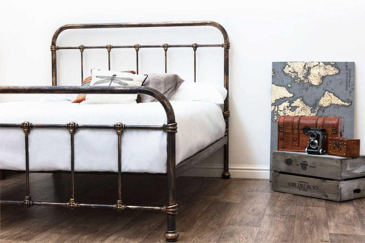 Burford Victorian Hospital Antiqued Black Metal Bed Frame Single