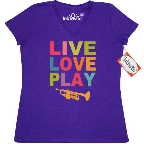 d094f85f64 Inktastic Live Love Play The Trumpet Women's V-Neck T-Shirt Laugh Musician  Brass Horn Jazz Music Marching Band Orchestra Pinkinkartkids Fun Humor Funny  ...
