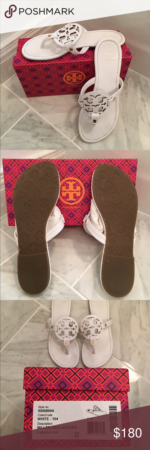 Tory Burch Miller Sandal white, in great condition! worn twice. new with box. size 10, fit like a 9.5 Tory Burch Shoes Sandals