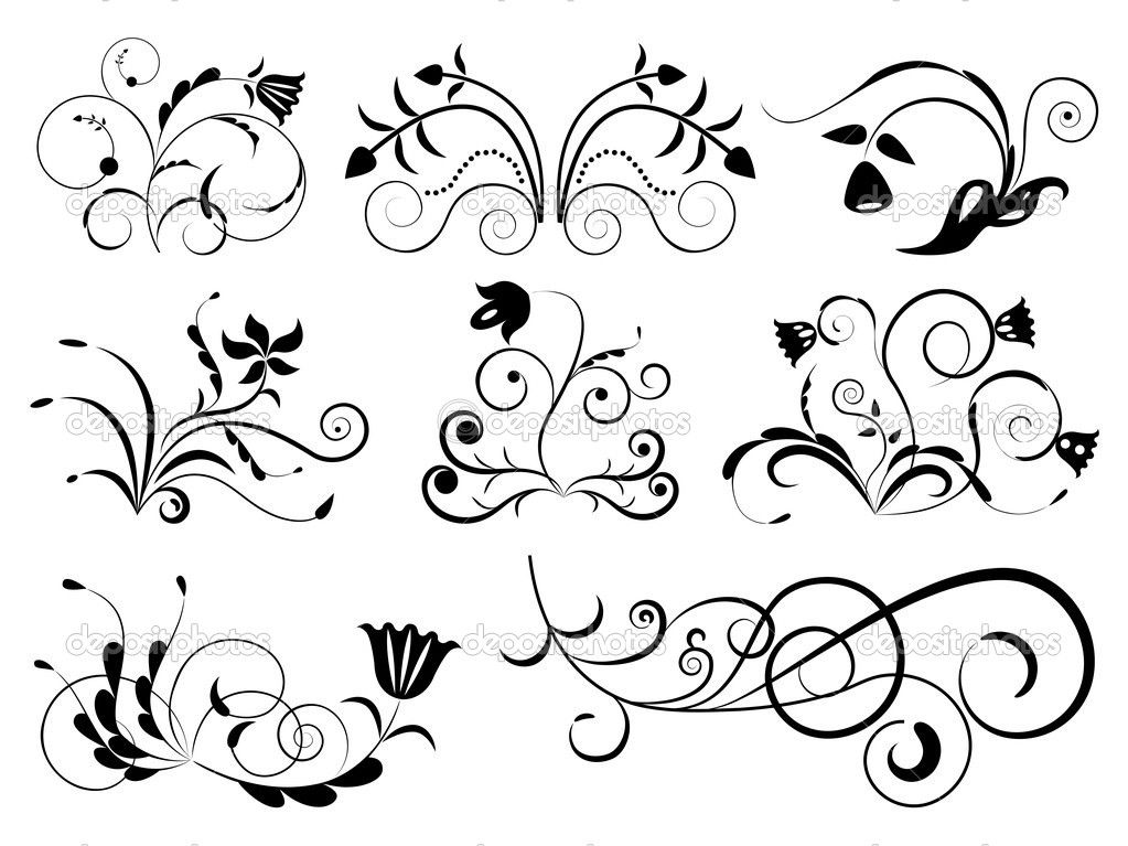 black and white floral design elements. — stock vector © lenapix