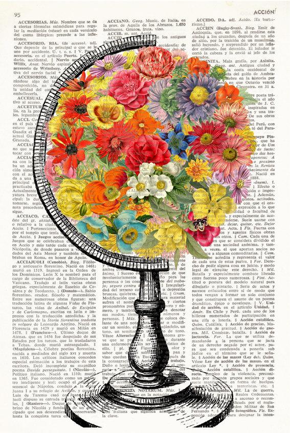 Dahlia Dictionary Art by Old Book Art Nursery Decor Orange Flower Children/'s Room Decor Fine Art Prints Whimsical Flower Children